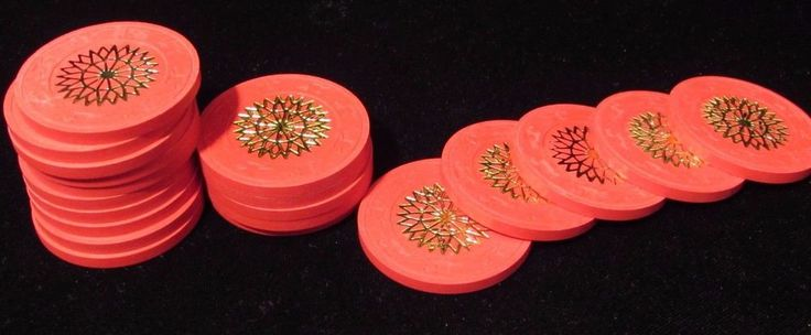 20 - Vintage Paulson Red Starburst Gambling Poker Chips Clay?