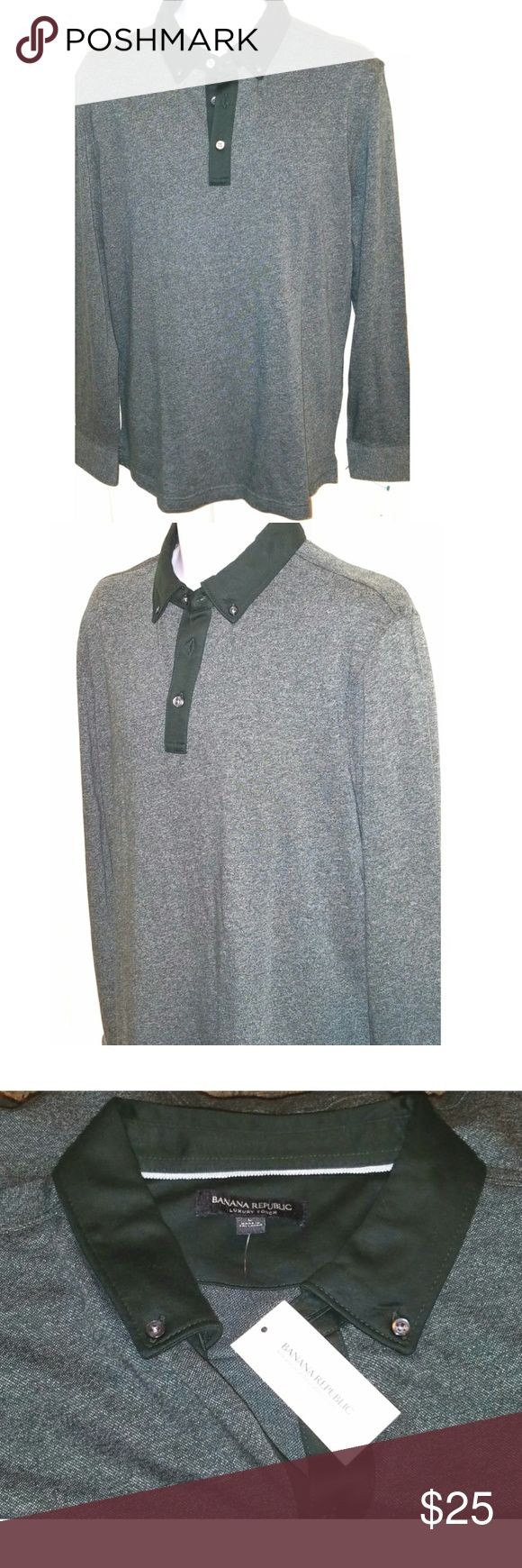 NWT Banana Republic Mens Long Sleeve Polo Shirt This is a mens large long sleeve polo shirt by Banana Republic. The chest measures 27 inches and the length is 31 inches. Banana Republic Shirts Polos