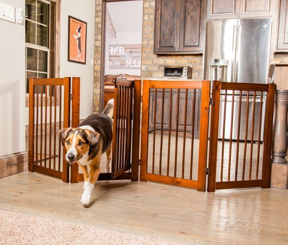 Baby Pet Gate Free Standing Large Wide Wood Dog Fence