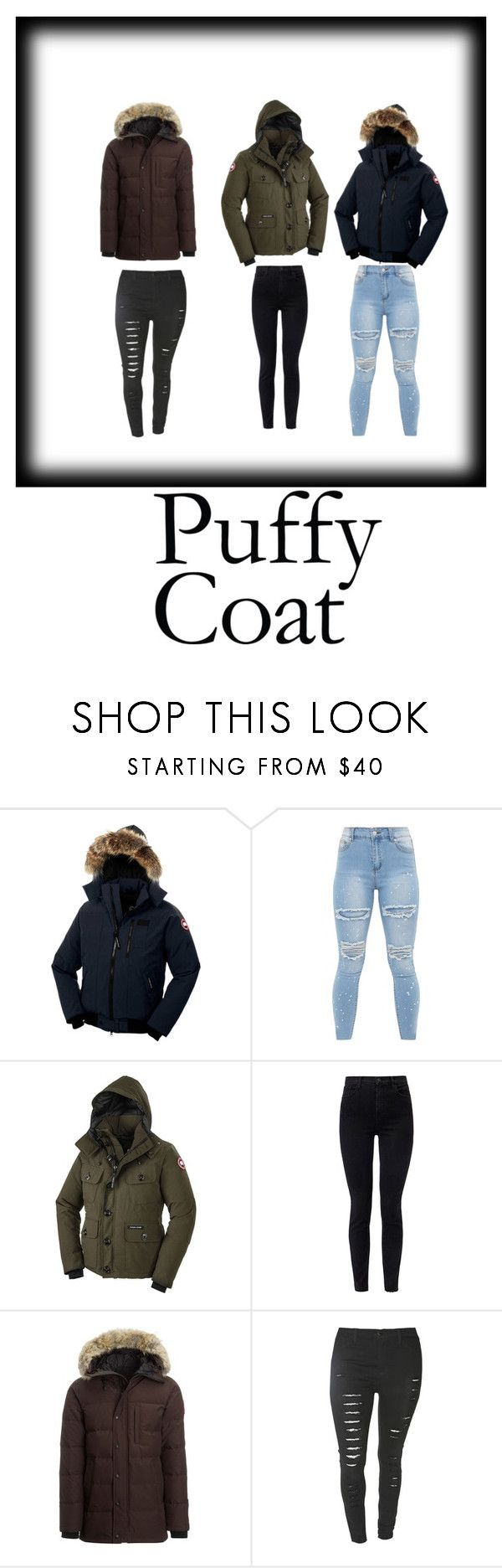 """""""puffer coats"""" by daizysheila ❤ liked on Polyvore featuring Canada Goose and J Brand"""