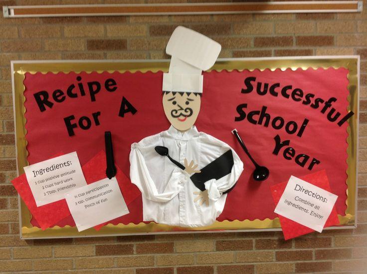 """Back to school bulletin board """"recipe for a successful school year!""""School counseling bulletin board."""