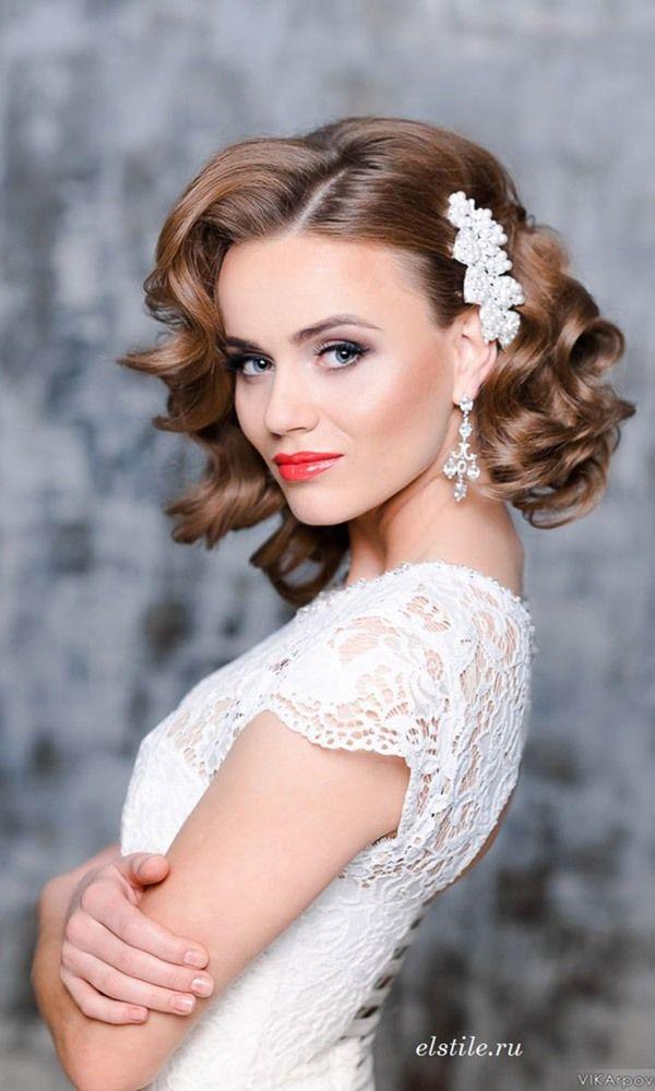 Elstile short vintage curly wedding hairstyles / http://www.himisspuff.com/bridal-wedding-hairstyles-for-long-hair/37/