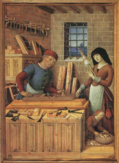 Family Scene, Wife With Spinning Distaff, husband carpenter with a full supply of period tools - Bourdichon, French, 15th c.