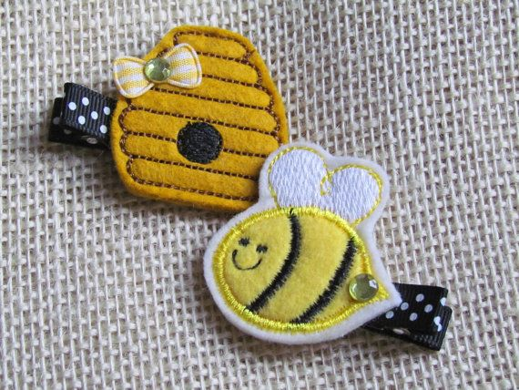 Girls / Baby Hair Clip, Unique Hair Clips, Felt Clip Set, Bumble Bee and Bee Hive