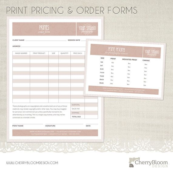 Print Order Form and Print Pricing Template for Photographers - Photographer Business & Client Forms - F02