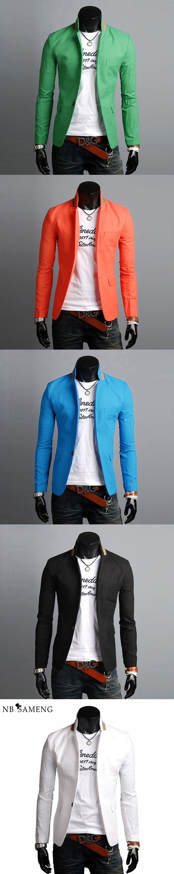Mens Blazers 5 Colors Male Suit Fashion 2017 European Slim Fit Casual Linen Single Button Blazer Jacket Traje Hombre 13M0569