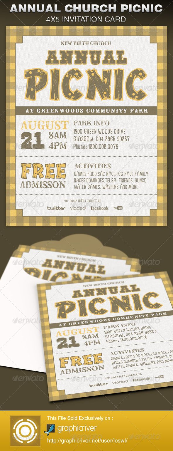 This Annual Church Picnic Invite Card Template is great for any personalized invitation. Use it for Church Events, Birthday Parties, Baby showers, Bridal Showers, Bachelor Parties, etc.