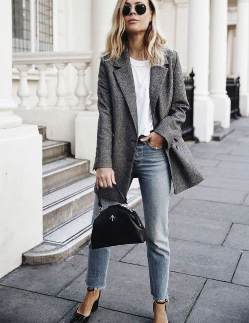 How to wear oversized blazer this fall outfits street style jeans  casual tshirt