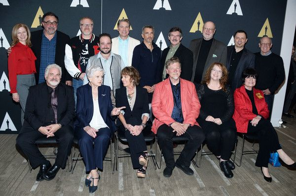 """Angela Lansbury Photos - (L-R Back Row) Producer Don Hahn (2nd L) director Gary Trousdale, actors Bradley Pierce, Richard White, Robby Benson, animator Mark Henn, actor David Ogden Stiers, animator Andreas Deja, (L-R Front Row) Jesse Corti, actors Angela Lansbury, Paige O'Hara, directors Roger Allers, Brenda Chapman, and actress Jo Anne Worley attend the 25th Anniversary screening of """"Beauty and the Beast"""": A Marc Davis Celebration of Animation at Samuel Goldwyn Theater on May 9, 2016 in…"""