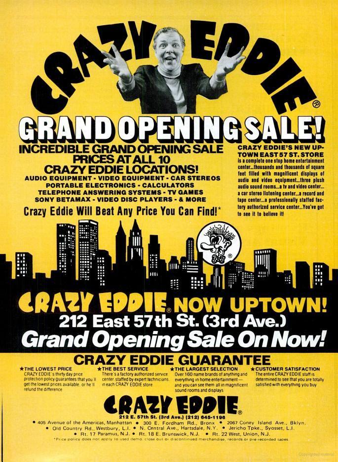 Vintage Retail Advertisements Crazy Eddie 1981 The Incredibles Nostalgia Audio Equipment