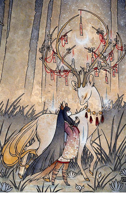 'The Wish – Kitsune Fox Deer Yokai' iPhone Case by TeaKitsune   – Wallpapers