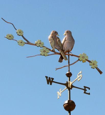 lovebirds weathervane on branch west coast - Weather Vanes