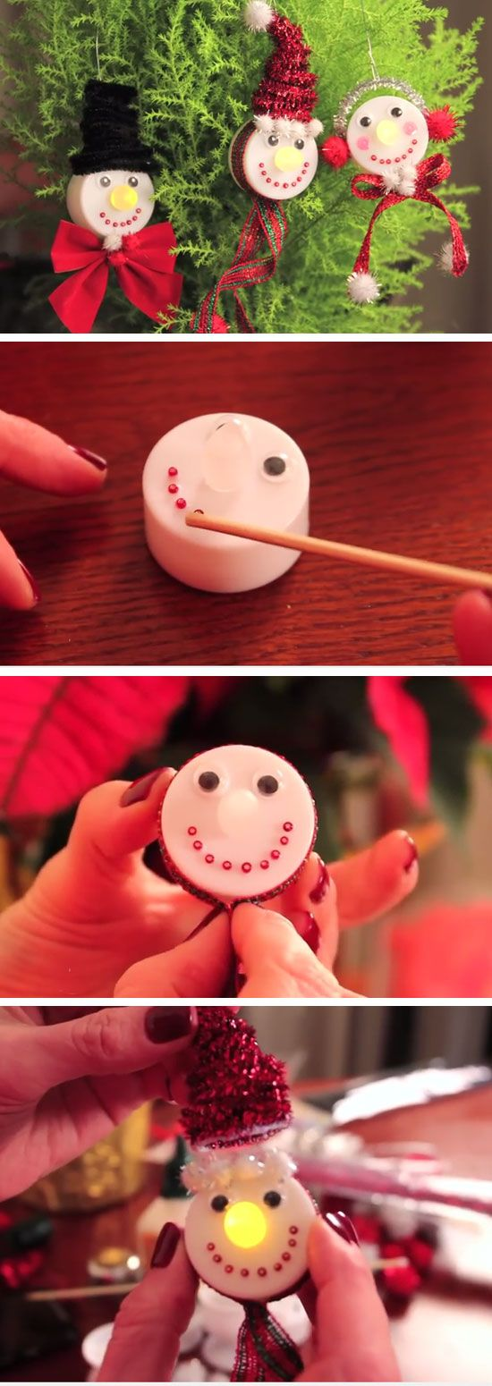 Snowman Tea Light Christmas Ornaments | Easy Christmas Crafts for Kids to Make | Cheap Handmade Christmas Decorations on a Budget DIY