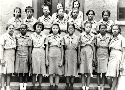 The first African-American troop in the Dixie Region, which covered the Southern states, taken in the late 1930's. The Girl Scouts of America welcomed girls of color as early as 5 years after its 1917  founding. More history here at madamenoire.com