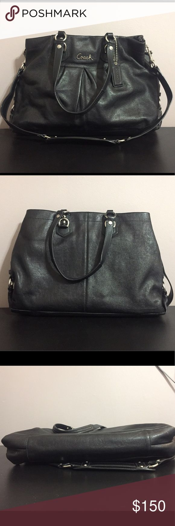 Coach Leather Purse with Removable Strap 🌟Great condition - very well taken care of and clean on the inside Leather Coach purse  🌟Big enough to fit a small laptop (as shown) or tablet 🌟Great for school or work or just everyday wear  🌟I'm including the dust bag I keep it in, but the dust bag is not Coach, it's Marc by Marc Jacobs Dust bag  💁🏻I am 5'2, 115 lb for reference. I wear small or xs and size 25 in jeans. Coach Bags Shoulder Bags