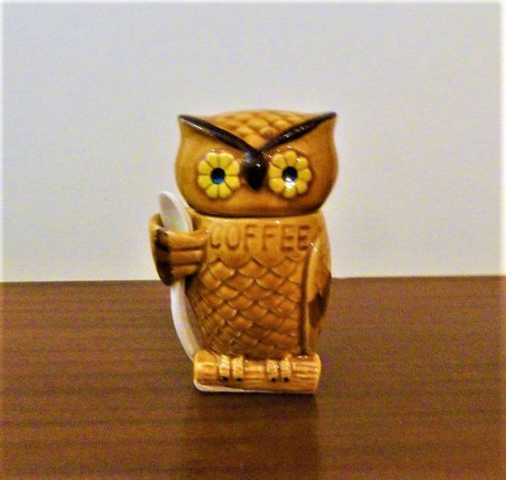 $20    Vintage 1970s Ceramic Owl Coffee Jar Canister / Retro by V1NTA6EJO