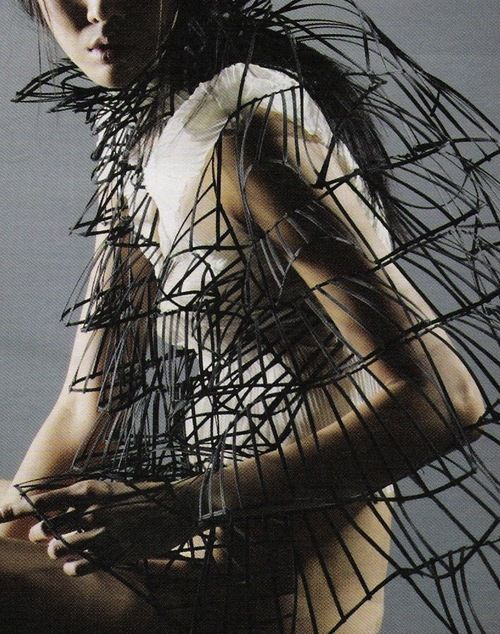 Sculptural cage construct - 3D wearable structure; fashion architecture