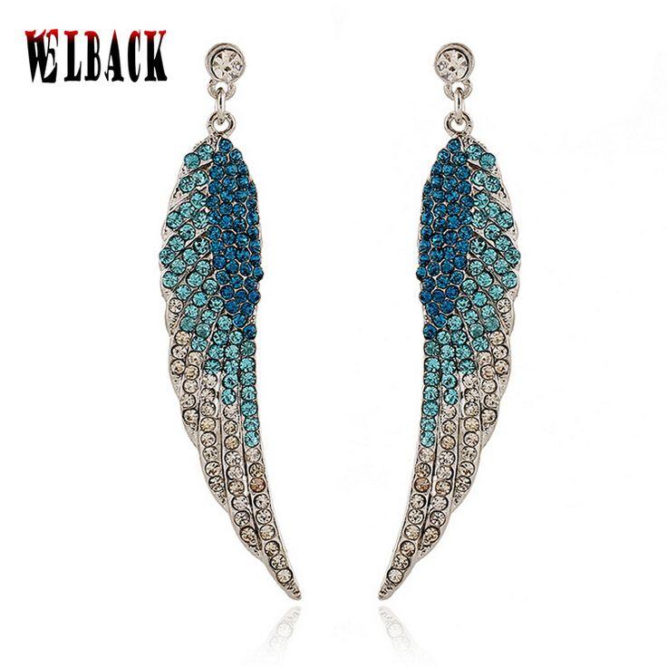 De nieuwe stijl van Europese en Amerikaanse mode oorbellen engelvleugels volledige crystal mode-sieraden voor vrouwen