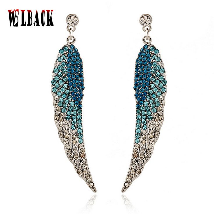 The new style of European and American fashion earrings angel's wings full crystal fashion jewelry for women