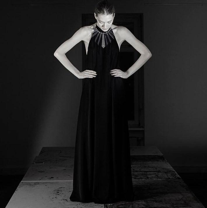 PVC Star necklace Long black dress  Photo: www.lenakashirsky.com