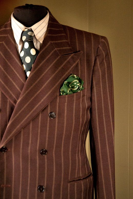 Early 1940s Marx Made Chalkstripe DB suit  Sold by thesarahmarieshop