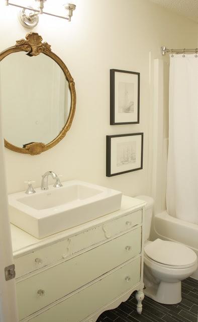 White Dove Paint Round Mirror Over Vanity Decorating