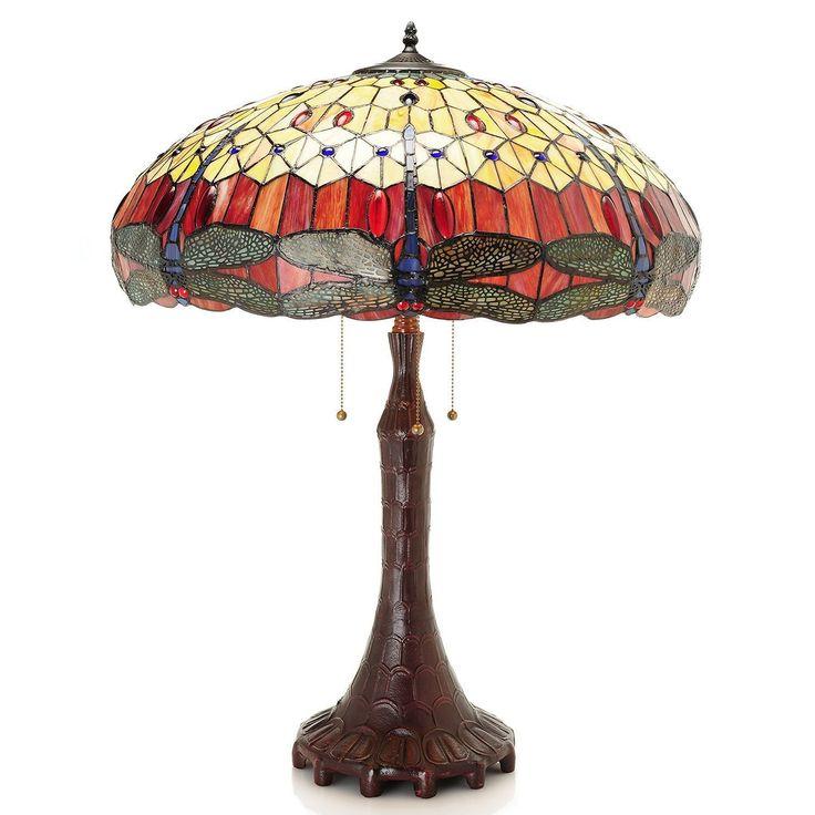 Odona Dragonfly Tiffany-Style Table Lamp (Dragonfly Tiffany-Style Table Lamp), Brown (Art Glass)
