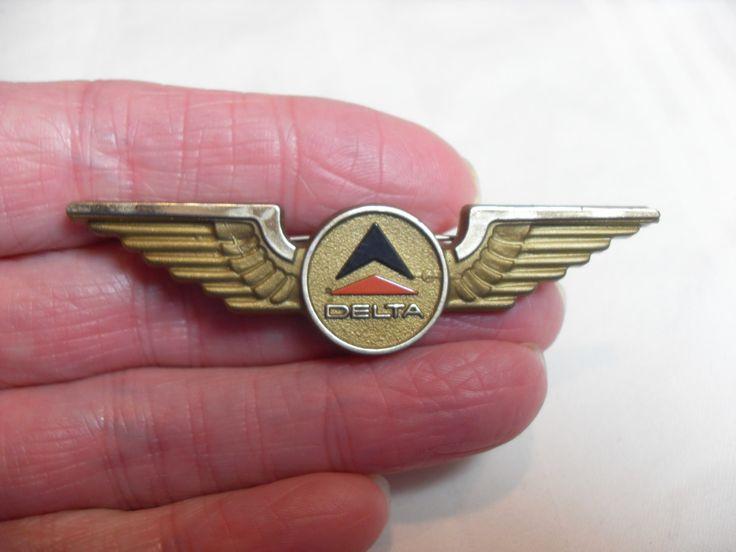 Delta wings pin, Vintage Child's pilot wings, Vintage advertising, Delta airlines pin, advertising collectible, GIngerslittlegems by GingersLittleGems on Etsy