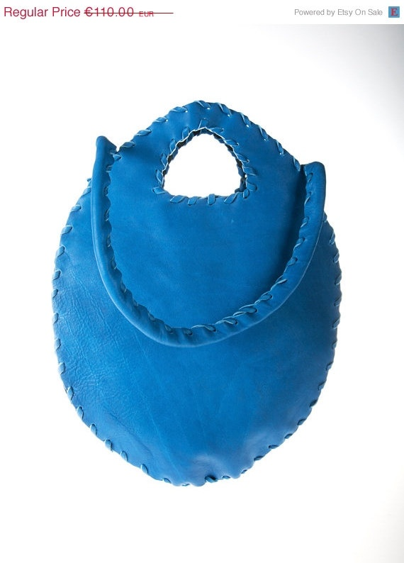 on sale blue cobalt leather purse bag  by ElenLovelyCollection, €55.00