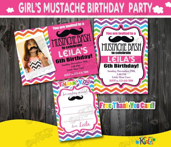 girl mustache party invitation mustache birthday party mustache first birthday1st birthday invitation - Mustache Party Invitations