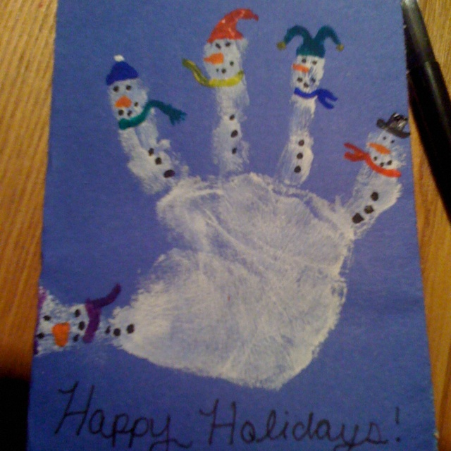 Snowman Handprint Christmas Card