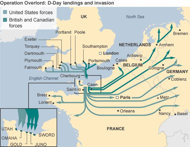 Operation Overload map showing routes of US and UK troops via BBC. http://www.bbc.com/news/uk-27737340