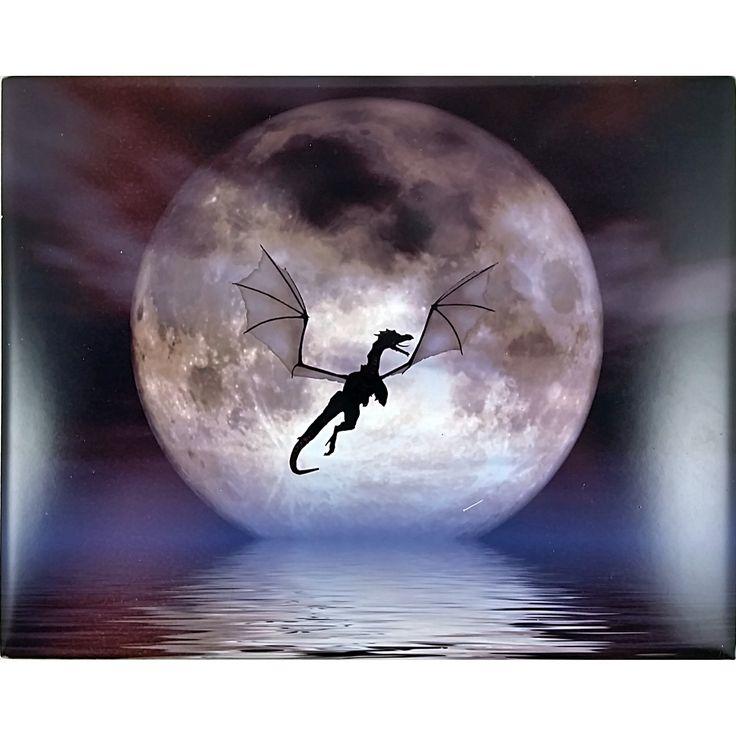 Dragon Moon Art Tile Julie Fain 10x8 in Fantasy Silhouette m269