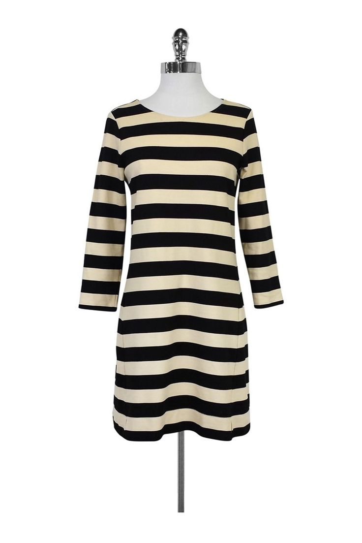Theory- Black & Beige Striped Long Sleeve Dress Sz M | Current Boutique
