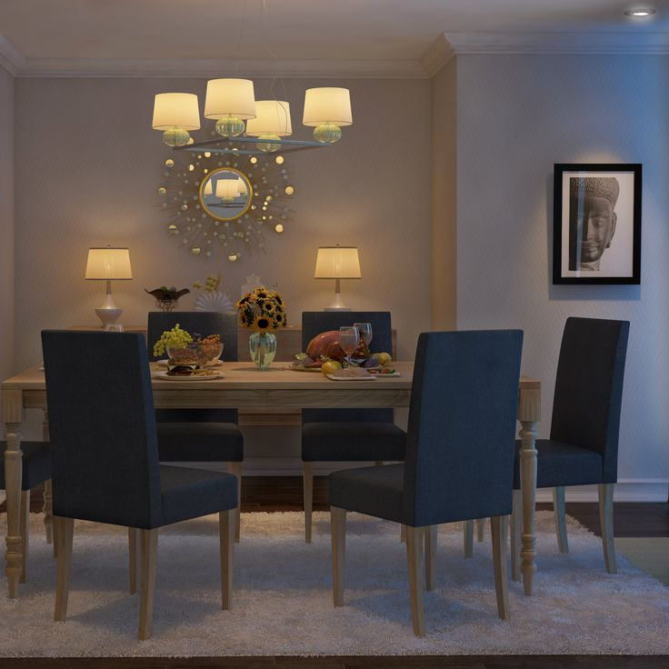 A Simple Dining Room With An Exquisite Mirror And Four Cone Chandelier