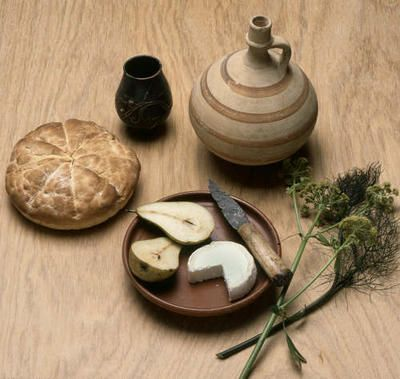 A reconstruction of a typical Roman meal using tableware excavated from Verulamium and foods known to have been eaten in Roman Britain