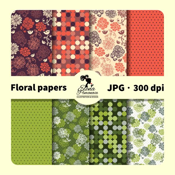 Floral papers - create papers, cards, web designs and more.