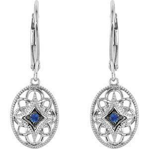 Blue Sapphire and Sterling Silver Filigree Leverback Earrings with Free Shipping.