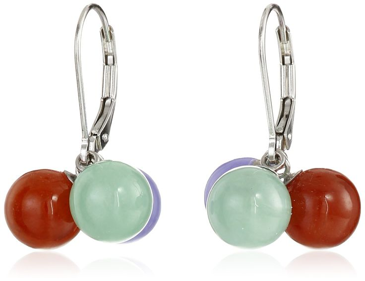 Sterling Silver 8mm Red, Lavender and Green Interchangeable Lever Back Earrings: