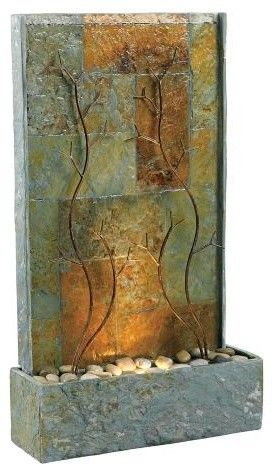 Kenroy Home Copper Vines Lighted Floor Fountain - mediterranean - outdoor fountains - Lamps Plus