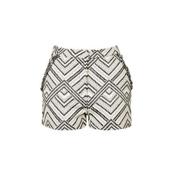 TopShop Fringed Festival Shorts ($24) ❤ liked on Polyvore featuring shorts, pants, monochrome, white fringe shorts, aztec shorts, fringe shorts, aztec print shorts and jacquard shorts