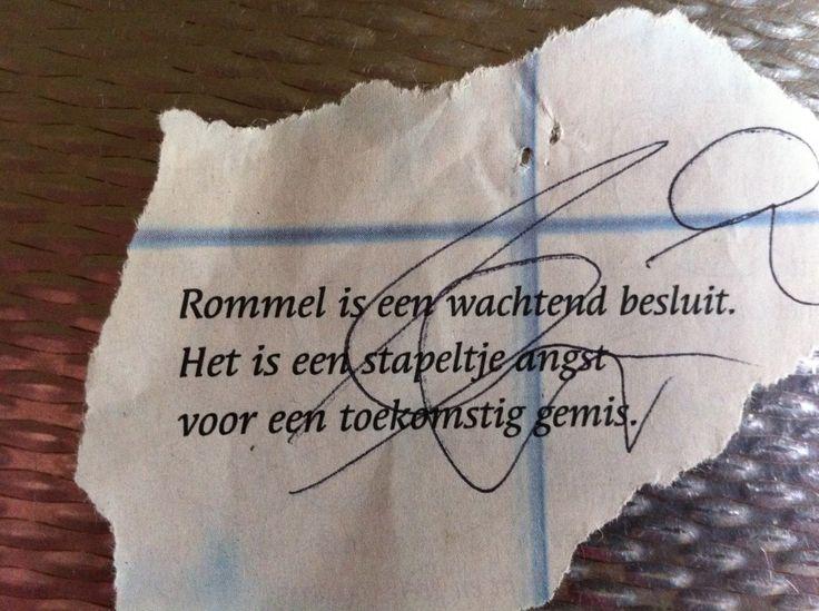Rommel is een wachtend besluit.Het is een stapeltje angst voor een toekomstig gemis.
