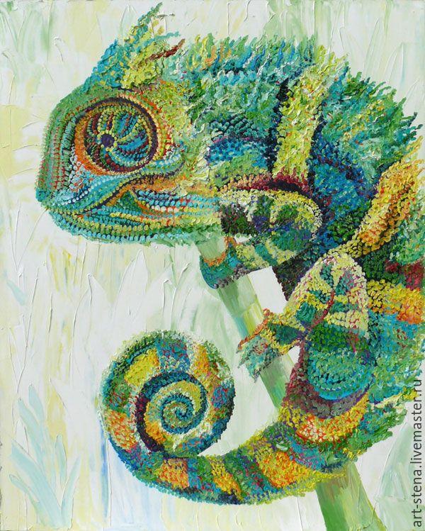 """Купить Картина """"Хамелеон"""" - ярко-зелёный, картина маслом, интерьер, хамелеон, большая картина"""