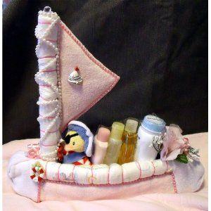 Pink Diaper Sailboat Baby Shower Sail Boat Girl Nautical