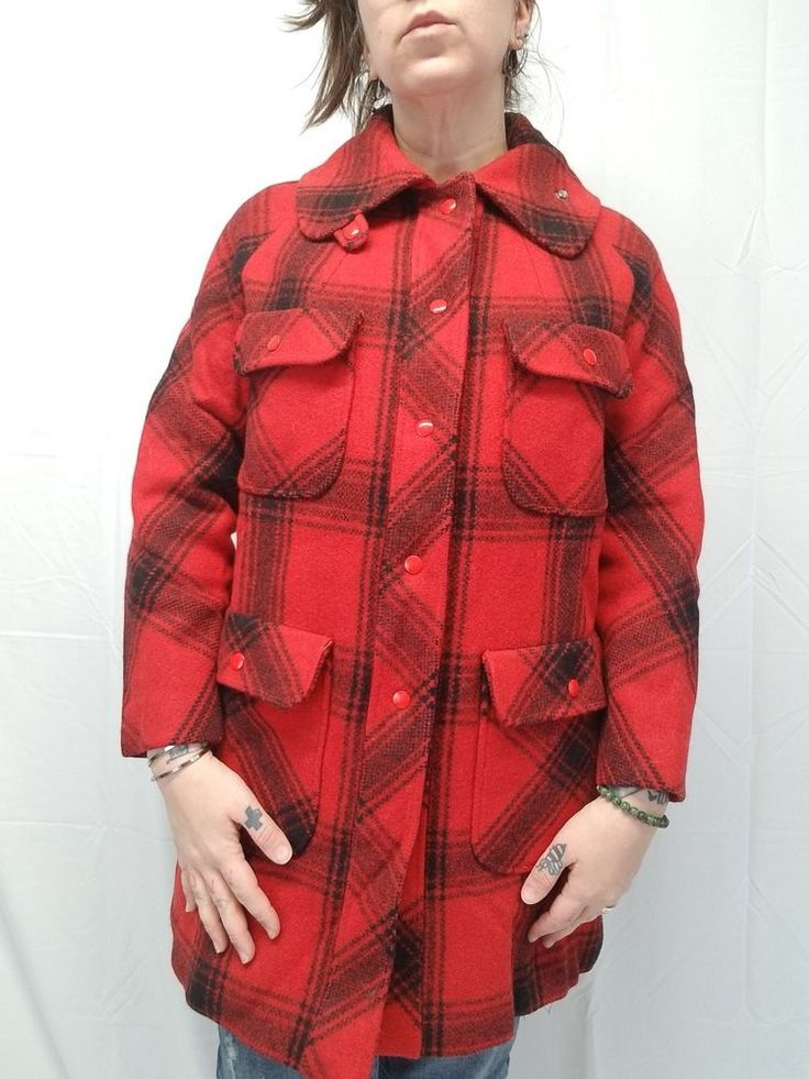 Vtg Woolrich/Mackinaw Look WOMEN'S Medium Red Black Plaid Wool Hunting Coat EUC  #Unbranded #Everyday