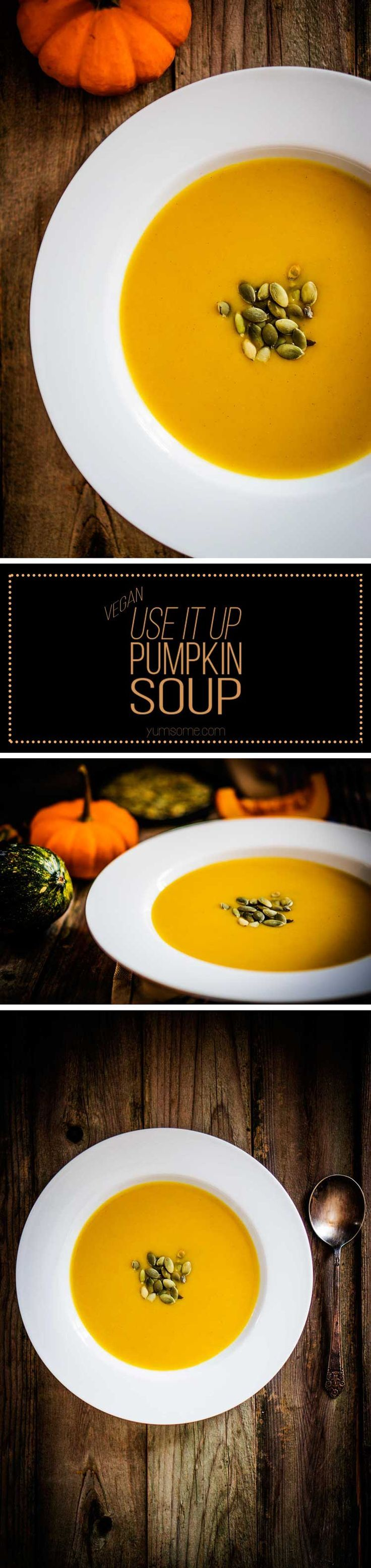 My delicious, vegan, hearty use-it-up pumpkin soup is what cool weather is all about. Brimming with vegetables, it makes a wonderfully filling and warming meal. | yumsome.com via @yums0me