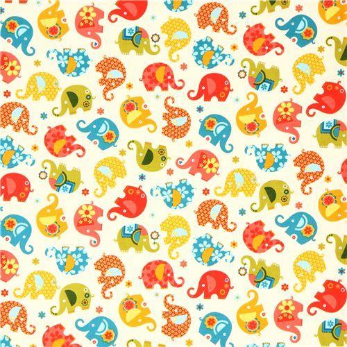 light yellow elephant fabric Michael Miller USA