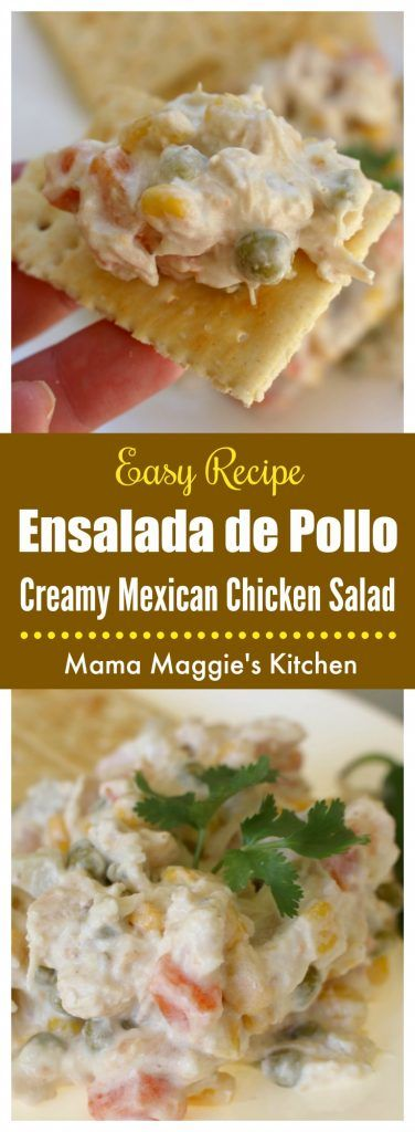 Ensalada de Pollo is a Mexican recipe that's a party favorite - a fiesta for your mouth and your guests as well. It consists of chicken and vegetables dressed in a creamy mayonnaise dressing. It's easy, delicious, and perfect for any gathering.   via @maggieunz #mexicanrecipes #mexicanfood #chicken #chickensalad #easyrecipe #potluck