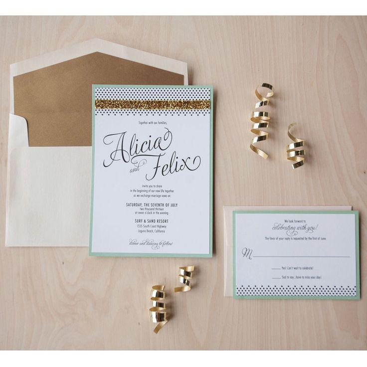 wedding invitation mint green%0A Modern Glam Wedding Invitation  gold glitter invitation  mint and gold  invitation  celebrate invitation
