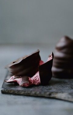 """RENE REDZEPIR'S CHOCOLATE-COVERED BEET MERINGUE FLODEBOLLER ~~~ this version of this traditional beloved denmark treat is shared with us from the destination of destination restaurants all food geeks dream of... """"noma"""". [Rene Redzepir] [Danish Cuisine] [houseandhome]"""